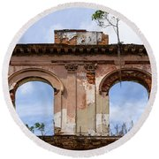 Two Picture Windows Round Beach Towel