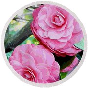 Two Pink Camellias - Digital Art Round Beach Towel