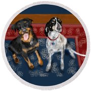 Two Pups On A Persian Carpet Round Beach Towel