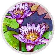 Two Purple Lotus Flower Round Beach Towel