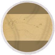Two Reclining Girls Round Beach Towel
