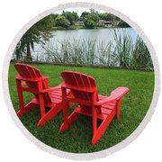 Two Red Chairs Overlooking Lake Formosa Round Beach Towel