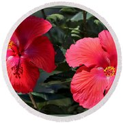 Two Red Hibiscus With Border Round Beach Towel