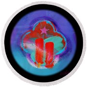 Two Red Towers Round Beach Towel