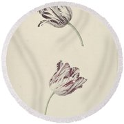 Two Red White Tulips Round Beach Towel