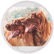 Two Redheads Round Beach Towel by Debra Jones
