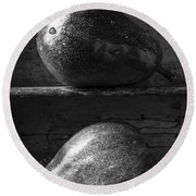 Two Ripe Pears In Black And White Round Beach Towel