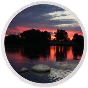 Two Rocks Sunset In Prosser Round Beach Towel by Carol Groenen