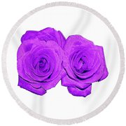 Two Roses Violet Purple And Enameled Effects Round Beach Towel