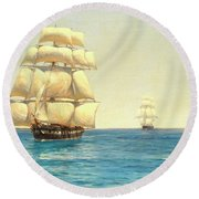 Two Royal Navy Corvettes On Patrol In The Southern Ocean Round Beach Towel