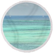 Two Sailboats In The Bahamas Round Beach Towel