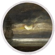 Two Sailing Boats By Moonlight Round Beach Towel
