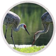 Two Sandhills By The Water Round Beach Towel