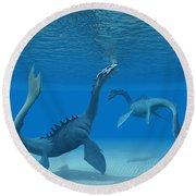 Two Sea Dragons Round Beach Towel
