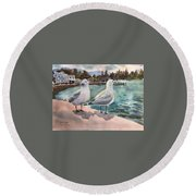 Two Seagulls By The Sea Round Beach Towel