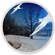 Two Seagulls Fly Together In The Clear Blue Sky Round Beach Towel by Fernando Cruz