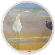 Two Seagulls Wondering Where The Chips Have Gone Round Beach Towel