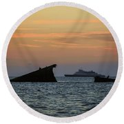 Two Ships Sunset Beach Cape May Nj Round Beach Towel