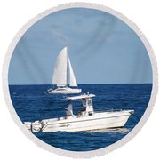 Two Ships That Pass Thru The Day Round Beach Towel