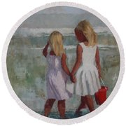 Two Sisters And Red Bucket Round Beach Towel