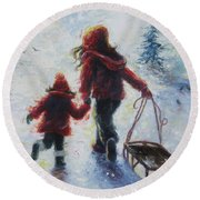 Two Sisters Going Sledding Round Beach Towel