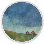 Two Sisters Houses Round Beach Towel