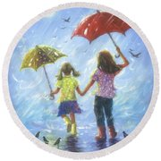 Two Sisters Rain Blond Little Sister Round Beach Towel