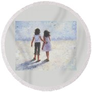 Two Sisters Walking Beach Round Beach Towel