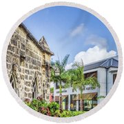 Two Solitudes, Holetown Church And Limegrove Mall, Barbados Round Beach Towel