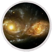 Two Spiral Galaxies Round Beach Towel