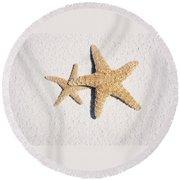 Two Starfish On The White Sand Round Beach Towel