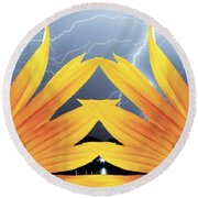 Two Sunflower Lightning Storm Round Beach Towel by James BO  Insogna