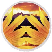 Two Sunflower Sunset Round Beach Towel by James BO  Insogna