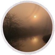 Two Suns In The Mist Round Beach Towel
