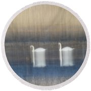 Two Swans In Movement Round Beach Towel