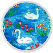 Two Swans Round Beach Towel by Sushila Burgess