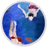 Two Swimmers Round Beach Towel