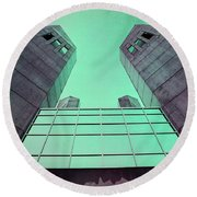 Two Towers Round Beach Towel