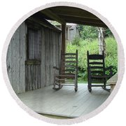 Two Tranquil Rocking Chairs In The Mountains Round Beach Towel