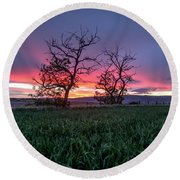 Two Trees In A Purple Sunset Round Beach Towel