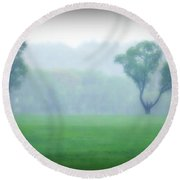 Two Trees In The Mist Round Beach Towel