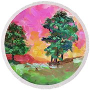 Two Trees Round Beach Towel