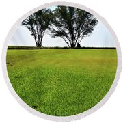 Two Trees On Meadow 15304 Round Beach Towel