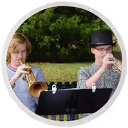 Two Trumpets Round Beach Towel