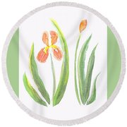 Two Iris II Watercolor Round Beach Towel