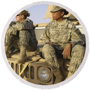 Two U.s. Army Soldiers Relax Prior Round Beach Towel