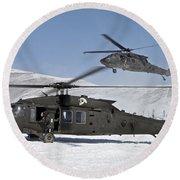 Two U.s. Army Uh-60 Black Hawk Round Beach Towel