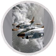 Two U.s. Navy T-2c Buckeye Aircraft Round Beach Towel
