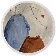 Two Vases Still Life Round Beach Towel