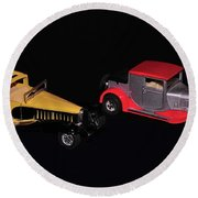 Two Vintage Cars Models  Round Beach Towel